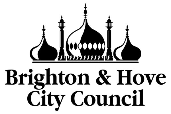 Brighton and Hove City Council logo in black and white depicting the Brighton dome.