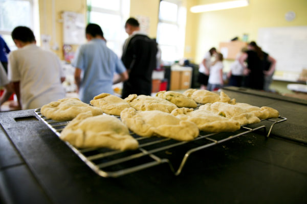 Cooked potato cakes and schoolchildren