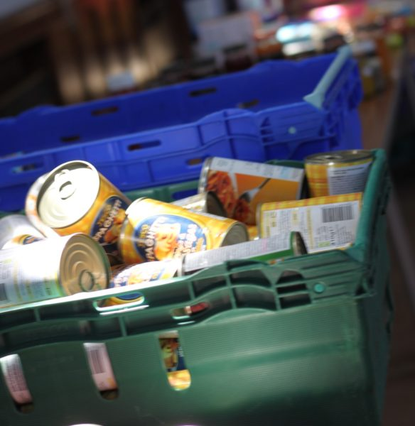 Tins at a food bank