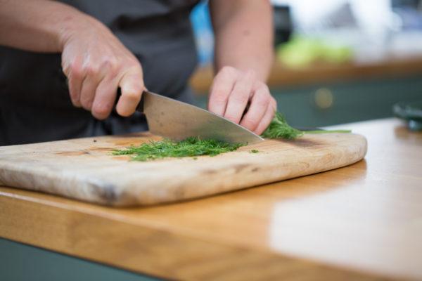 chopping dill herb