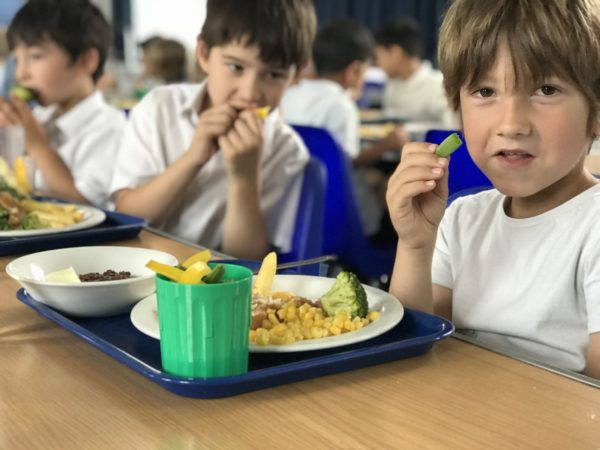 Pupils eatnig vegetables from their Veg Power Pots