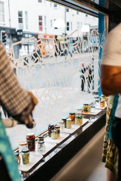 jars seen through kitchen windows