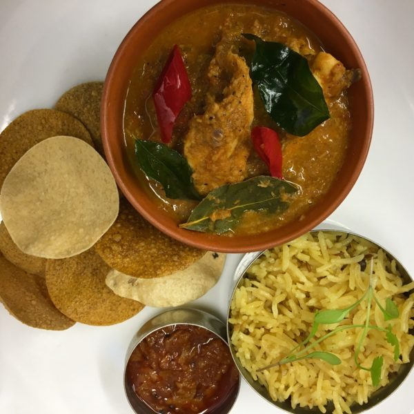 South Indian curry and sides
