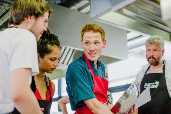 Andrew Smyth and baking class participants